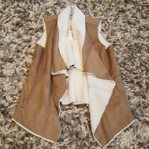 NWT Faux Suede and Fur Vest
